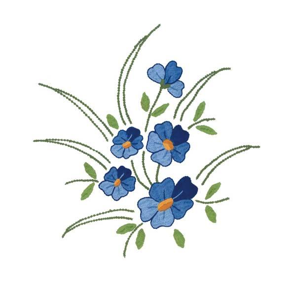 Tecido   Risco Para Pintura Ou Bordado   Toalha De Mesa Flor Azul